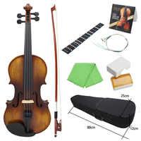 AV-508 4/4 Voller Größe Akustischen Violine Geige Kit Massivholz Matte Finish Ebenholz Gesicht Bord 4-String Instrument 7 teile/satz Mit Fall