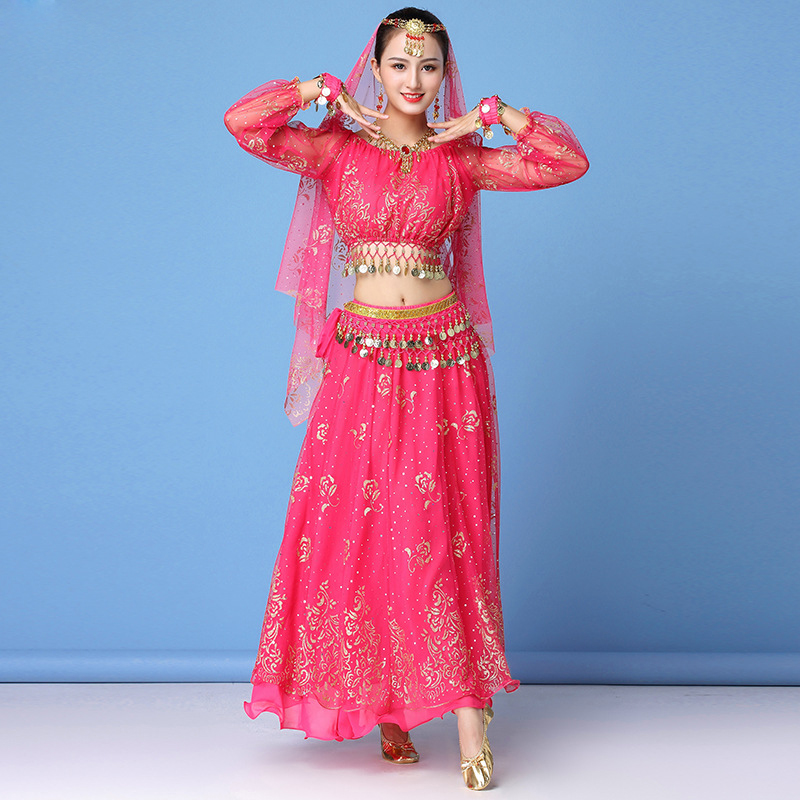 2019 danse porter femmes Performance indien Sari tenue Bollywood ventre danse Costumes ensemble (haut + ceinture + jupe + voile + casque)