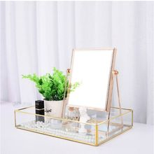 Nordic ins Gold Countertop Vanity Mirrors 360°Rotation Single Sided Mirror Decorative Table Makeup With Stand