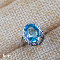 KJJEAXCMY boutique jewelry 925 sterling silver inlaid 2 carat natural blue topaz ring