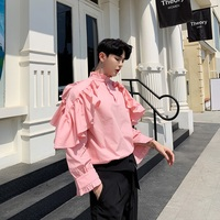 Men High Street Fashion Casual Pullover Shirt 2 Wear Style Male Lotus Leaf Shoulder Stand Collar Loose Stage Party Dress Shirts