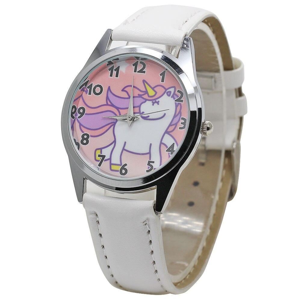 2018 Hot Watch Fashion Cute Unicorn Cartoon Girl Boy Child Quartz Watch Waterproof SportS Leather Watch Women Baby Watch Gift women quartz watch with cartoon ribbon