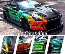 Verde Brilho Espelho Rainbow Holográfico Filme cromo aleta PROTWRAPS Que Cobre a folha de vinil envoltório do carro Com bolha de Ar livre 1.35×20 m