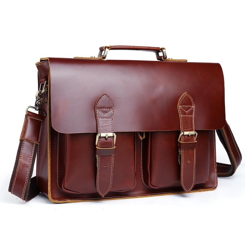 все цены на 2017 100% Genuine Leather Handmade Men's Dark Red Laptop Briefcase Shoulder Handbag Fashion Casual Luxury Unique Style 1061 онлайн