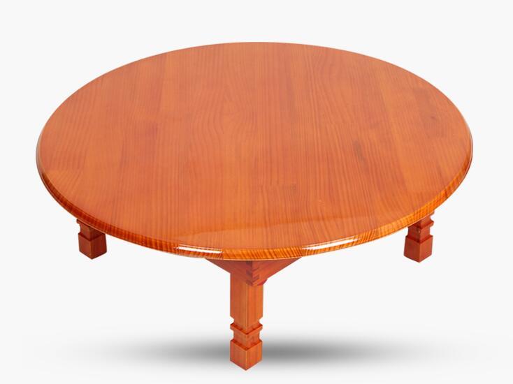 Modern Round Table Folding Legs 90cm Natural Cherry Finish Living