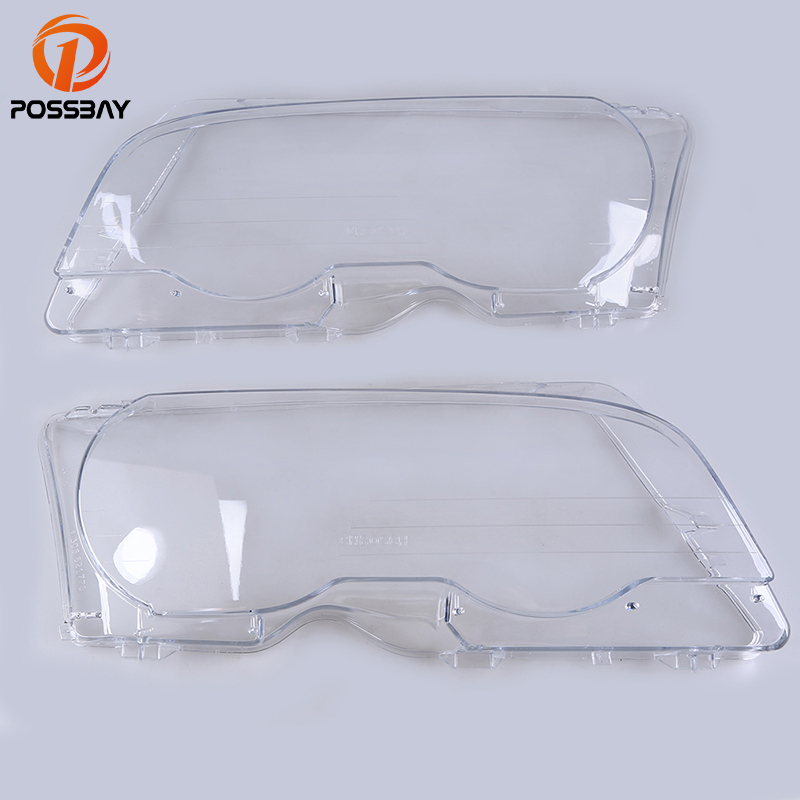 POSSBAY Clear Left/Right Car Transparent Housing Headlight Lens Shell Cover for BMW 3-Series E46 Cabrio Pre-facelift 2000-2003 possbay matte black front center grille grilles for bmw 3 series e46 325ci 330cd 330ci m3 csl cabrio cabrio 2003 2006 facelift