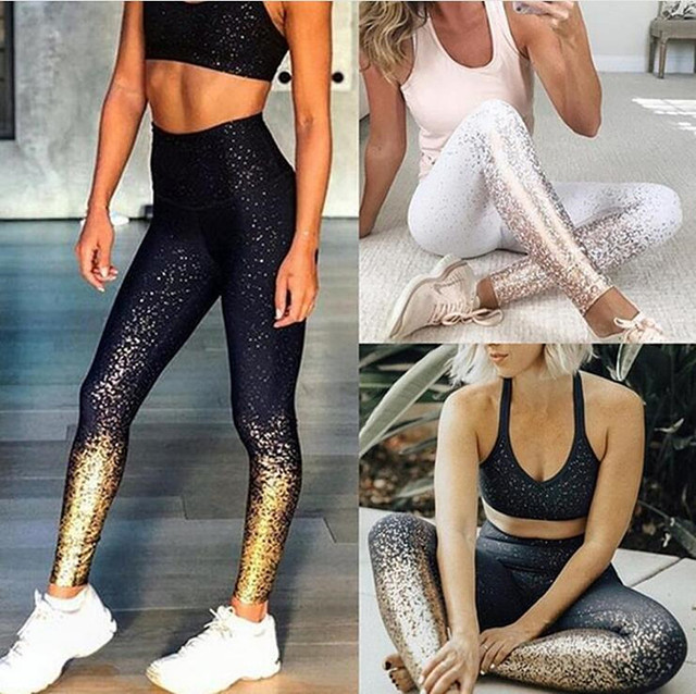 Hot Stamping 2Pcs Yoga Sets with High Waist Cut and Leggings