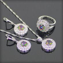 Ronda Natural 925 de Plata de La Joyería Para Las Mujeres Arco Iris Místico Creado Topacio Pendientes/Colgante/Collar/Anillos Caja libre