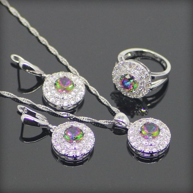 Round Natural 925 Sterling Silver Jewelry Sets For Women Mystic Rainbow Created Topaz Earrings/Pendant/Necklace/Rings Free Box