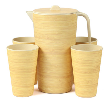 Lekoch 2600ml Water Kettle Bamboo Fiber Eco-friendky Water Jug Heat Resistance Juice Container With Lid Filter Cold Drinkware
