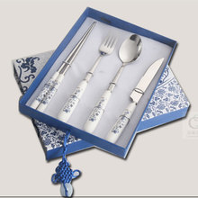 Chinese Style Blue and White Porcelain Spoon/Fork/Knife/Chopsticks Dinnerware Cutlery Sets Portable Luxury Dinner Tableware Set