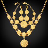 Coin Necklace Bracelet Earrings Women Muslim Arab Money Sign Gold Color Middle Eastern / African Jewelry Set Vintage NEH882