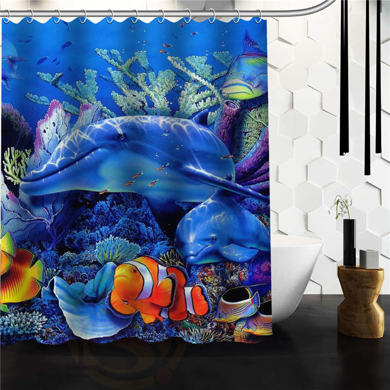 New Arrival Marine Life Under The Sea Bathroom Polyester Shower Curtain 152x182cm Bath Screen Waterproof With Hook In Curtains From Home
