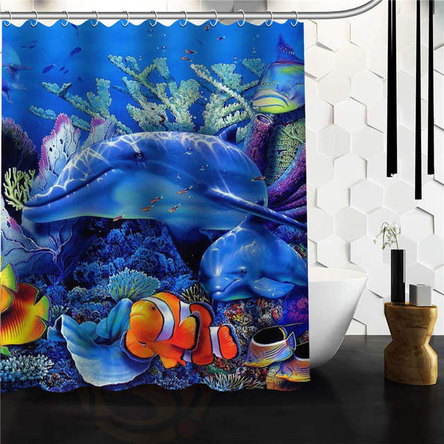 New Arrival Marine Life Under The Sea Bathroom Polyester Shower Curtain 152x182cm Bath Screen