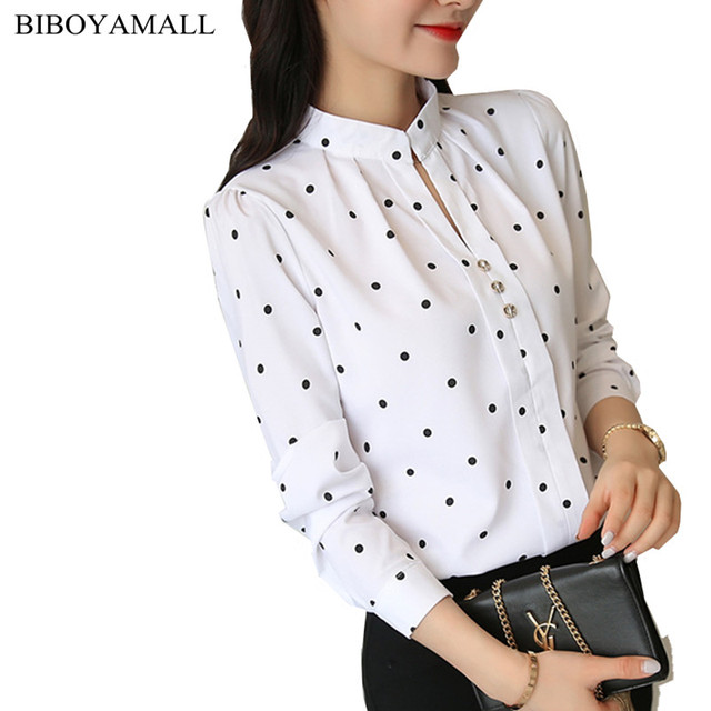 BIBOYAMALL Polka Dot White Blouse Women Tops New Fashion Casual V-neck Long Sleeve Shirt Women's OL Work Blouses Femme Blusa Top