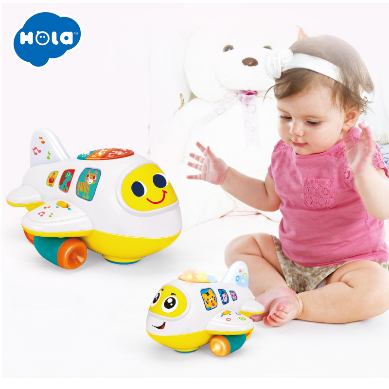 HOLA 6103 Baby Toys Electronic Airplane Toy With Lights & Music Kids Early Learning Educational Toy For Children 12 Month+