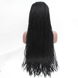 Image 4 - Sylvia 1b#Color Synthetic Braided Lace Front Wigs For Women Heat Resistant Fiber Hair Wigs Premium Braid Wig