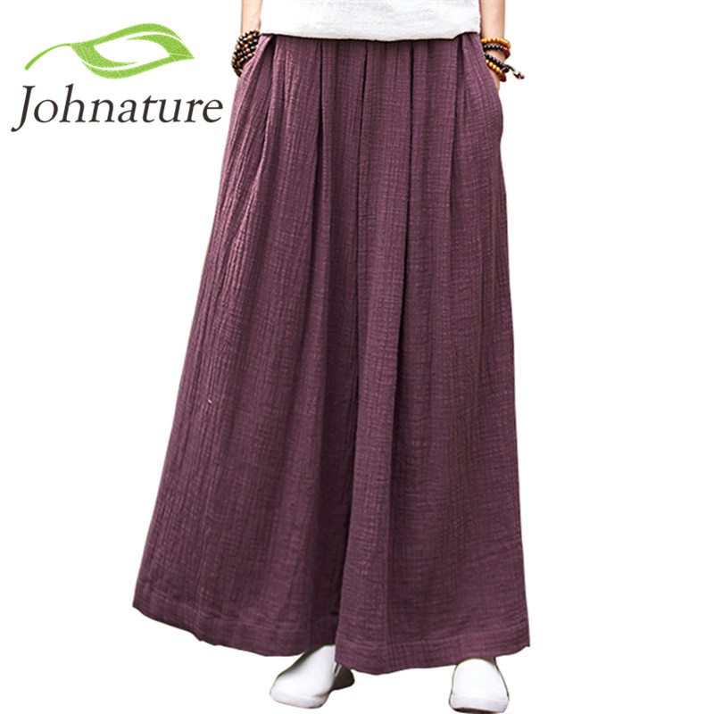 Johnature Women   Wide     Leg     Pants   Elastic Waist Plus Size Women Trouser 2018 Summer New Casual Cotton Linen Soft Loose   Pants