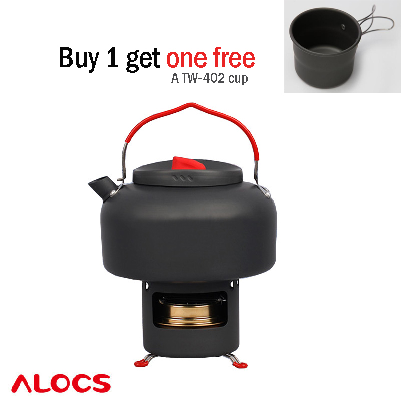 Alocs TIME CW-K04 Teapot Pro Outdoor Camping Set A 1.4L teapot/coffee pot and One Alcohol Stove and one Shelf Carrying Bag