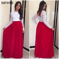 SZMXSS New Spring 2016 Lace Patchwork O Neck Long Sleeve Party Women Dresses Floor Length Big