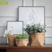 WCIC Eco-Friendly Kraft Paper Flower Pot Cover Household Garden Planter Flower Succulents Flower Pot Vegetable Grow Bags Garden