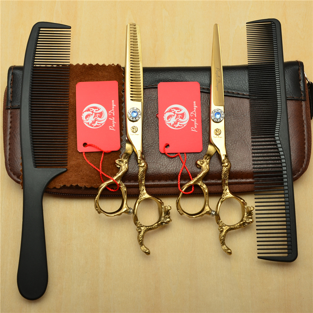 4Pcs Suit 6 Golden JP 440C Professional Human Hair Hairdressing Shears Combs + Cutting +Thinning Scissors Dragon Handle Z90034Pcs Suit 6 Golden JP 440C Professional Human Hair Hairdressing Shears Combs + Cutting +Thinning Scissors Dragon Handle Z9003