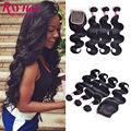 7A Grade Indian Virgin Hair with Closure Body Wave Human Hair With Closure 3 Bundles With Closure 4X4 Lace Closure With Bundles