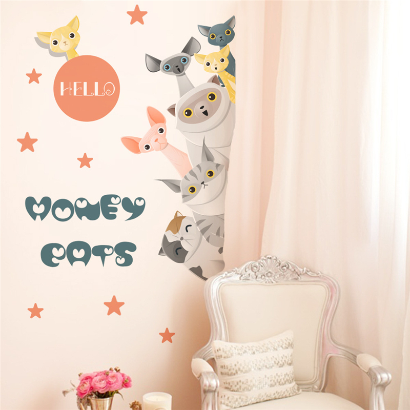 Diy Nordic Wind Kitten Wall Stickers For Kids Rooms