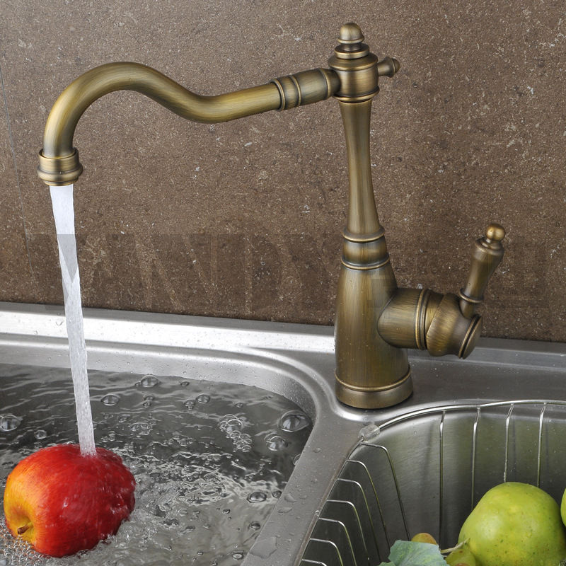 New High quality Solid Brass Antique Classical Kitchen Faucet European Hot Cold Water Rotatable Mixer Tap