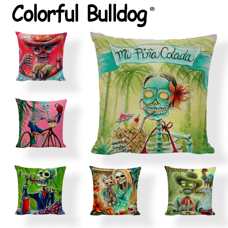 High Quality Sugar Skull Cushion Covers Wine Tropical Tree Parrot Painted Linen Home Decor Camping Chair Modern Art Pillows Case
