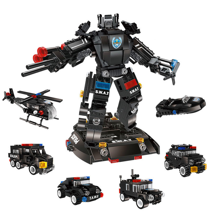 573pcs 6in1 Children s educational building blocks toy Compatible city Special police team series variant King