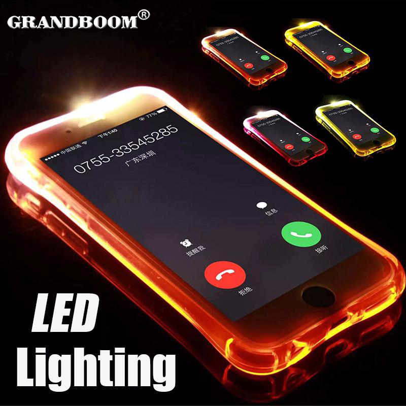 1000pcs LED Call Light Up Flash Transparent Case For iPhone XS Max XR X 8 7 6 6S Plus 5 Samsung