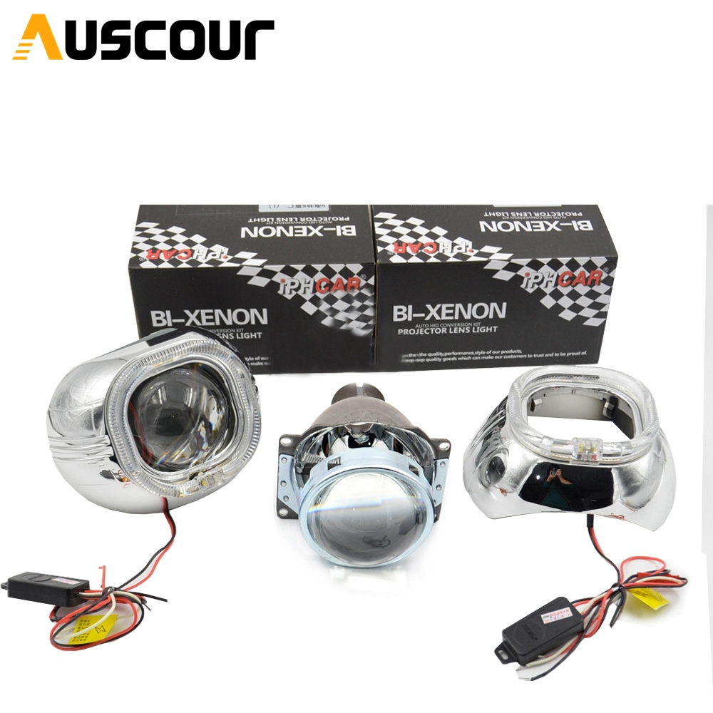2pcs 3.0 inch h4q5 Bixenon hid Projector lens fast start 35w/55 with smax shrouds angel eyes xenon kit headlight fit D2S D2H