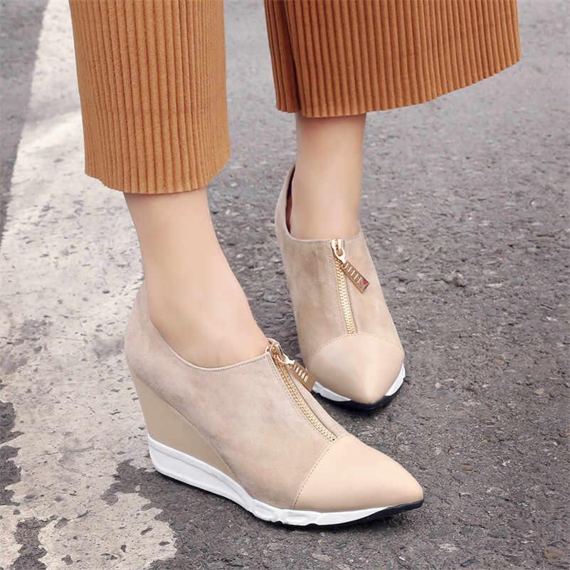 FEDONAS/2018 г.; женские туфли-лодочки на высоком каблуке; брендовые осенние туфли-лодочки с острым носком; удобная обувь на танкетке высокого качества; женские ботильоны