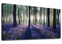Canvas Wall Art Sunshine Forest with Purple Lavender Panoramic Green Trees Scenery Painting For Home Decor Drop shipping