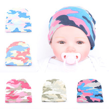 2016 New European Style Newborn Baby Hat For Girls And Boys Infant Baby Soft Cotton Knitted Camo Printed Caps  Kids Bonnets