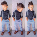 2016 Spring Fashion Boys Clothes 2-7Y children clothes boys set 2pcs children clothing set black shirt+bib pants boy suits
