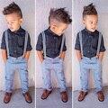 2016 la moda de primavera ropa 2-7Y ropa niños chicos set 2 unids niños que arropan el sistema camisa de color negro + bib pantalones boy trajes