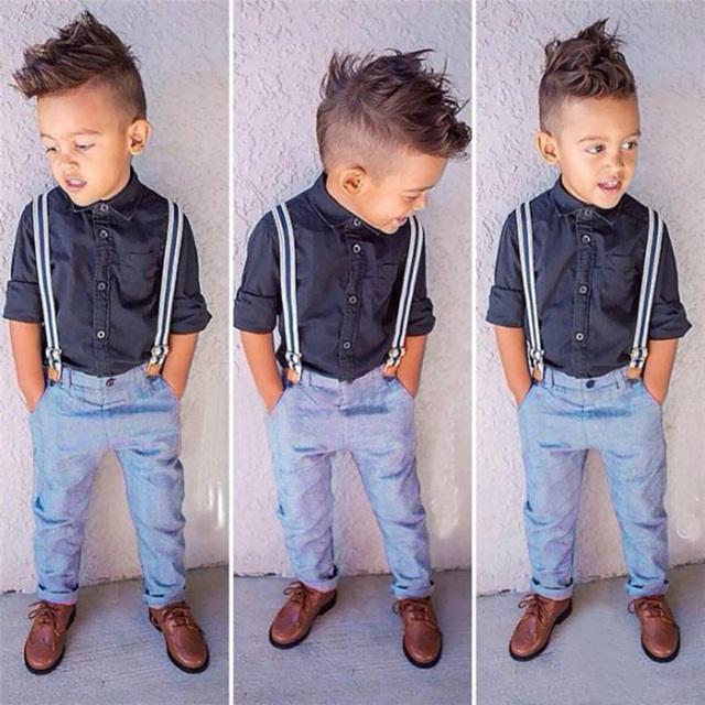 2016 moda primavera meninos roupas 2-7a crianças roupas dos meninos conjunto de 2 pcs conjunto de roupas crianças camisa preta + bib calças ternos menino