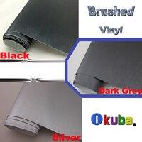 FedEx FREE SHIPPING Black Dark Grey Silver Metallic Brushed Aluminum Vinyl car Wrap Film Size:1.52*30m