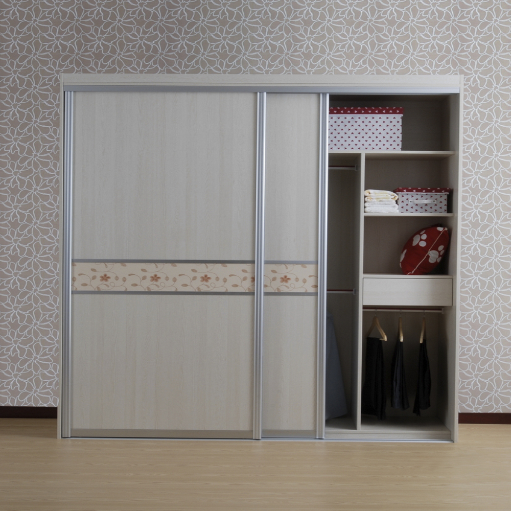 Customized Modern Melamine Mdf Wardrobe With 3 Sliding Doors In