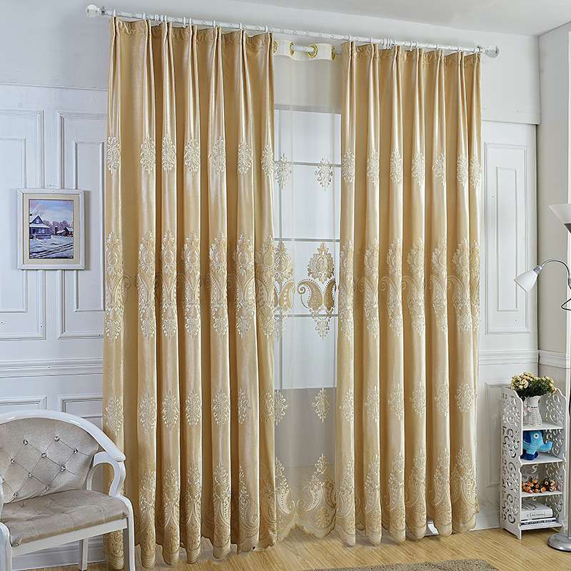 Cream Italy Cashmere Laser Embroidered Curtains Living Room Bedroom Study Europe