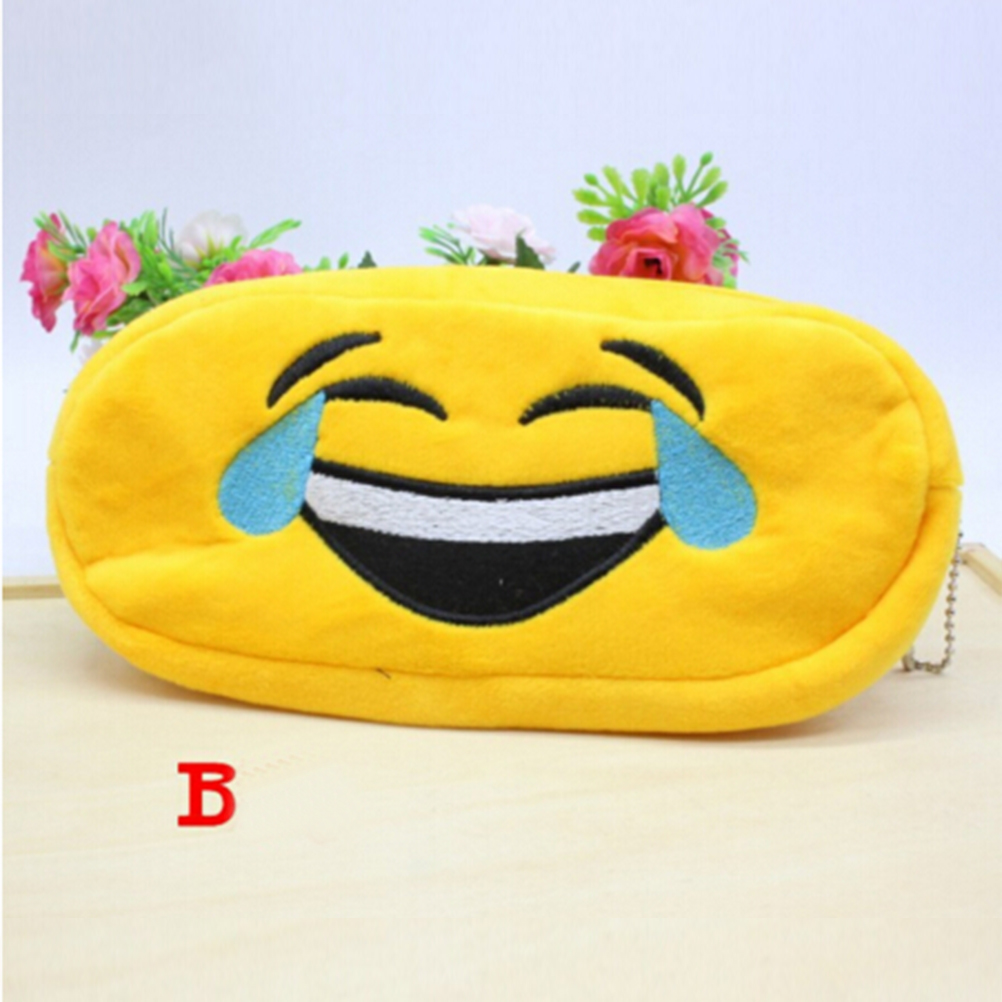 1pcs Lovely Face Pencil Case Plush Stationery Expression Pencil Bag Emoji Happy Large Pen Pencilcase School Supplies 20*10cm