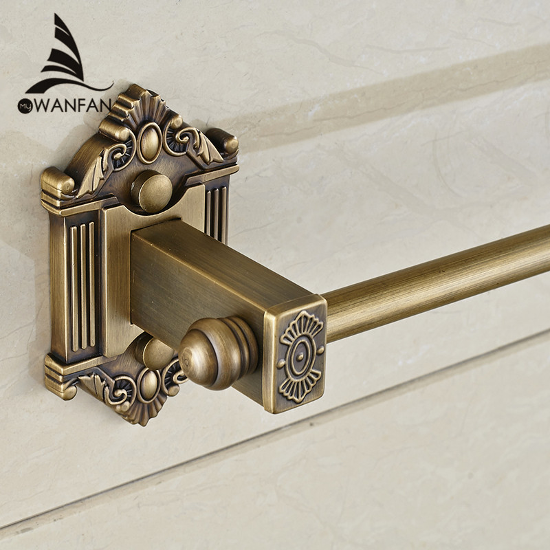 Towel Bars Single Rail Antique Solid Brass Wall Shelf Towel Rack Hanger Bath Shelves Bathroom Accessories Towel Holder WF-71224 whole brass blackend antique ceramic bath towel rack bathroom towel shelf bathroom towel holder antique black double towel shelf