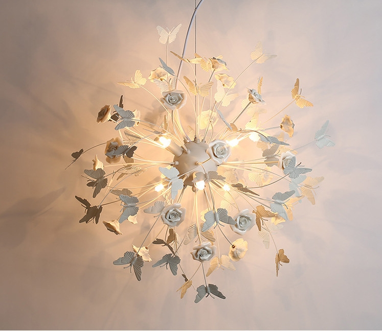Chandelier Nordic Led Chandeliers Butterfly Ceramic White Bedroom Lamp Romantic Pastoral Creative Flower Living Room Restaurant