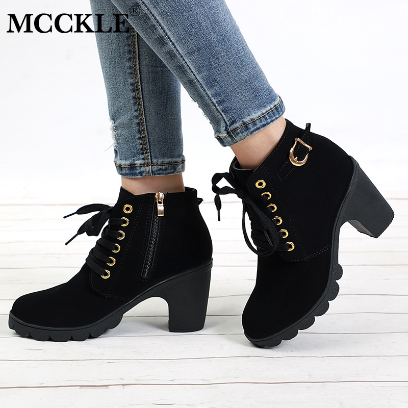 MCCKLE Ankle Boots High Heels Thick Heel Short Boot