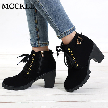 MCCKLE Plus Size Ankle Boots Women Platform High Heels Women's Boots Buckle Shoes Thick Heel Short Boot Ladies Drop Shipping 1