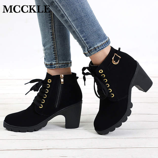 fe6c175237f49 Online Shop MCCKLE Plus Size Ankle Boots Women Platform High Heels Buckle  Shoes Thick Heel Short Boot Ladies Casual Footwear Drop Shipping |  Aliexpress ...