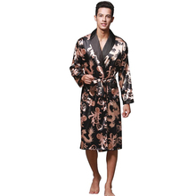 Tony&Candice Mens Satin Robe Long Sleeve Spa Bathrobe Dragon Printed Loungewear Sleepwear
