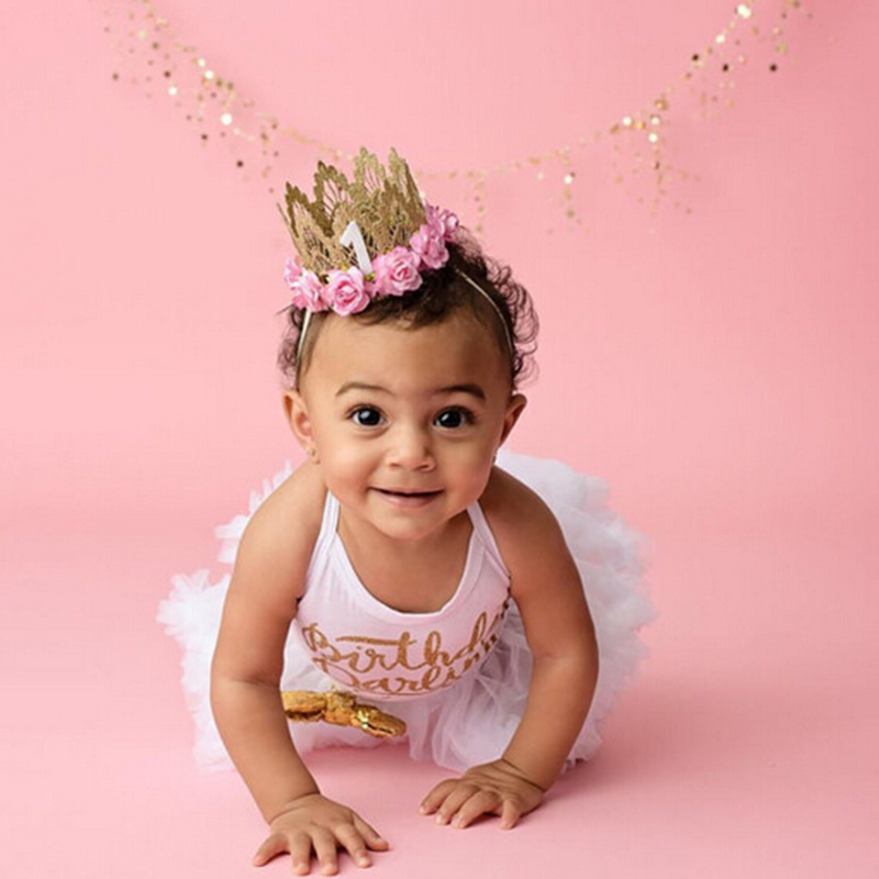 7 Colors Newborn Birthday Crown Headband Flower Lace Gold Tiara Headband  for Kids Party Headwear Hiar Band Accessories Gifts-in Hair Accessories  from Mother ... 876cd937506